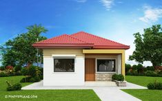 This 3 bedroom house design has a total floor area of 82 square meters. Minimum lot size required for this design is 167 square meters with 10 meters lot width to maintain meters setback both side. My House Plans, Bungalow House Plans, Small House Plans, Modern Bungalow House Design, Simple House Design, Home Design, Affordable House Plans, House Design Pictures, Three Bedroom House Plan