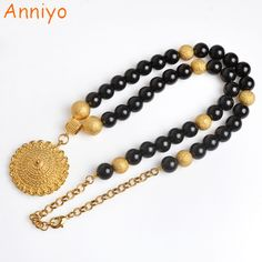 >> Click to Buy << Anniyo Black Bead Necklace 68cm for Women Ethiopian Beaded Rosary Chain Jewelry Gold Color Pendant Africa/Arabian Gifts #071006 #Affiliate