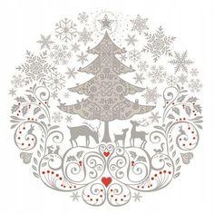"""Arbres de noël flocon de neige gris 3-PLY 20 serviettes en papier serviettes 13/"""" x 13/"""" –33 X33CM"""
