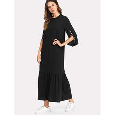 Pearl Beading Split Sleeve Pep Hem Dress