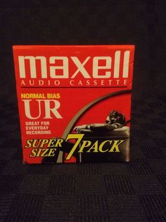 NIP Maxell Super Size 7 Pack Normal Bias UR Audio Cassette Tapes #Maxell