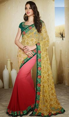 Attain the charming look by draping this beige and red georgette net half n half sari. First stylish red half of the drape is beautified with silk thread embroidered lace and sequins and that of other beige half of the drape has silk thread embroidered lace, sequins and all over floral motifs like jaal work. #LatestEveningSarees