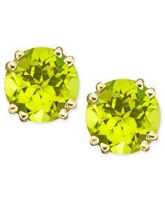14k Gold Peridot Stud Earrings (4 ct. t.w.) - Gemstones - Jewelry & Watches - Macy's