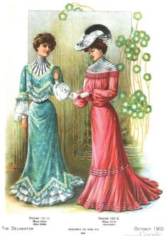 Edwardian Era Fashion Plate - October 1902 The Delineator Edwardian Era Fashion, Edwardian Clothing, 1900s Fashion, Historical Clothing, Vintage Fashion, Women's Fashion, Fashion Outfits, Edwardian Style, Victorian Dresses
