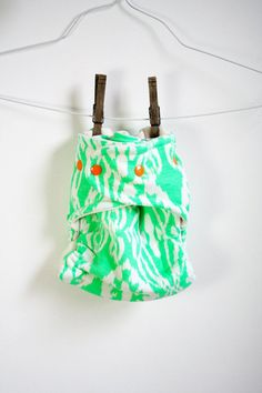green ikat fitted cloth diaper by rebourne