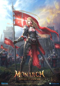 """PR Illustration for """"Monarch"""" Picture  (2d, illustration, knight, castle, game art, fantasy, army, girl, woman, warriors)"""