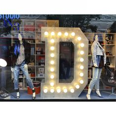Window display with a huge light up letter