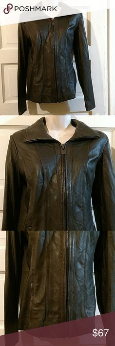 Jones New York Long Sleeve Brown Leather Jacket M Jones New York long sleeve lined zip up leather jacket. Polyester lining. Size Medium. Bust: 34 inches, Waist: 32 inches, Length: 21 inches shoulder to hem. Very good condition. Jones New York Jackets & Coats Utility Jackets