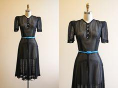 40s Dress - Vintage 1940s Dress - Black Mesh Sheer Rayon w Rhinestones Puff Sleeve Swing Dress S - Vesper Star