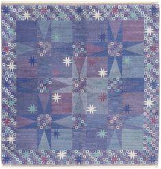 Blue star design rug