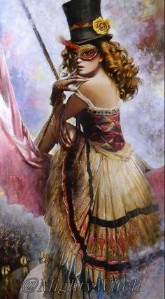 Circus Girl by Vladimir Mukhin; corset; off white; black stripe; top hat; flower; mask; red; yellow;