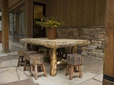Take a look at HGTV Dream Home rustic outdoor dining room made from recycled wood.