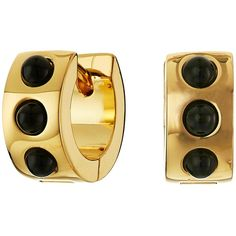 Marc by Marc Jacobs Cabochon Hinge Huggie Earrings Earring ($78) ❤ liked on Polyvore featuring jewelry, earrings, black, hinged earrings, earrings jewelry, cabochon jewelry, cabochon earrings and kohl jewelry