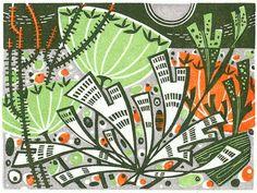 Seaweed and Seedheads - wood engraving print by Angie Lewin - printmaker