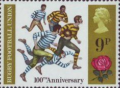 British Anniversaries 9p Stamp (1971) Rugby Football, 1971