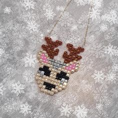 Reindeer Necklace Sparkly Rhinestone Deer Jewelry Christmas