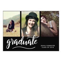 Graduate | Black | Three Photos Graduation Party Card - graduation gifts giftideas idea party celebration