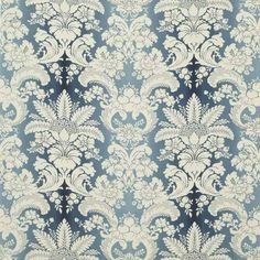 Deluxe damask indigo drapery and upholstery fabric by Stroheim. Restore Paint, Fabric Finders, White Lounge, Warwick Fabrics, Cottages By The Sea, Furniture Restoration, Retro Design, Fabric Decor, Fabric Patterns