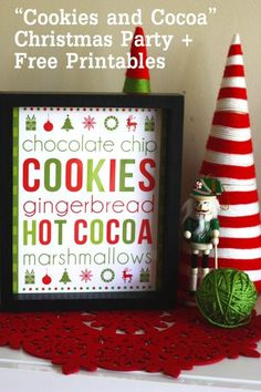 "Christmas Printables: The set includes several signs, recipe cards, water bottle labels, thank you cards, editable invitations and menu/place cards, mini chocolate bar wrappers, large party circles, gift tags, silverware wrappers, another ""Cookies and Cocoa"" welcome sign, a large ""Cookies and Cocoa"" banner, extra papers"
