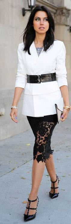 Black lace skirt + white blazer