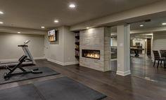 basement fireplace gym