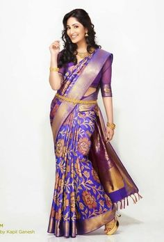 Beautiful girl in Purple colour saree