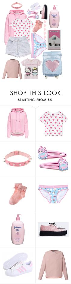 """shes so nice"" by corpsekiitten ❤ liked on Polyvore featuring Levi's, Aiko, Gymboree, Johnson's Baby, T.U.K., Diesel and Hello Kitty"