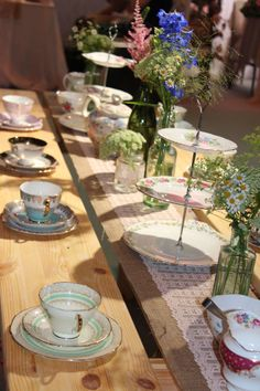 Vintage styling on our tipi table Afternoon Tea Table Setting, Afternoon Tea Wedding, Party Food Catering, Tea Table Settings, Tipi Wedding, Tea Ideas, Wedding Inspiration, Wedding Ideas, Tea Parties