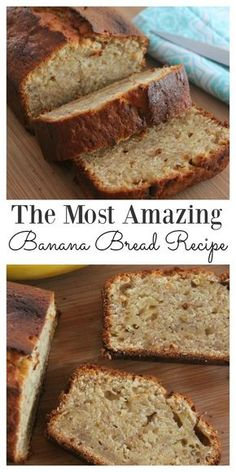 This simple and easy banana bread recipe will make your family think you have turned into a domestic goddess. It is light, fluffy, moist and oh so incredibly delicious. Just the smell coming from the oven is enough to drive you crazy for it. Mini Desserts, Delicious Desserts, Yummy Food, Holiday Bread, Christmas Bread, Christmas Christmas, Christmas Morning Breakfast, Oreo Dessert, Banana Dessert
