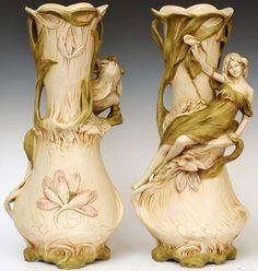 Art Nouveau - Vases 'Jeunes Femmes' - Royal Dux - Années 1900