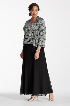 Plus Size Two Piece Jacket Mother of Bride/Groom Dress with Sequin Lace. Classic modest look with a stylish flare, this mock two piece dress is ideal for any Gown With Jacket, Lace Jacket, Jacket Dress, Jacket Style, Mother Of The Bride Dresses Long, Mothers Dresses, Plus Size Formal Dresses, Casual Dresses For Women, Evening Dresses Plus Size