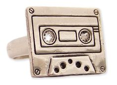 Silver Cassette Tape Ring - Unique Vintage - Cocktail, Pinup, Holiday & Prom Dresses.