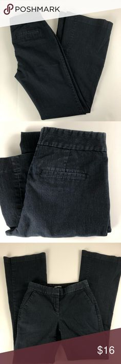 """Express size 0 denim trouser light weight pant Pre-owned condition. 13"""" waist, inseam 31"""" rise 9"""" cuff 10"""" approximate measurements. Smoke free/pet Friendly home. Make sure to check out my other listings, thanks for looking!   j65 Express Jeans Flare & Wide Leg"""