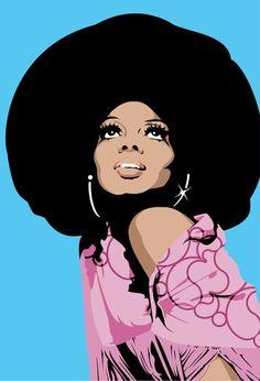 Diana Ross in full 'fro Pop Art                                                                                                                                                                                 More