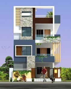 Stanch Properties is a construction company with diversified operations in to General and Industrial Civil contracts 3 Storey House Design, Duplex House Design, House Front Design, Modern House Design, House Paint Exterior, Dream House Exterior, Bungalow Exterior, Exterior Design, Front Elevation Designs