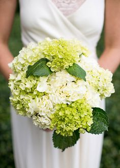 A Traditional Southern Wedding in Georgia, Green and White Hydrangea Bouquets | Brides.com