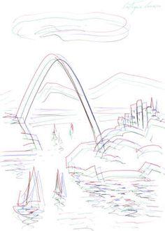 "Saatchi Art Artist Eustaquio Carrasco; Drawing, ""Boats, sea, arch and city"" #art"