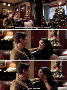 """""""I shopped and now I'm ready to drop into your arms"""" - Iris and Barry #TheFlash"""