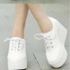 2015 new autumn floral canvas wedges shoes platform casual shoes lacing women's ultra high heels shoes women