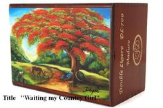 "Cigar Box with artwork ""Waiting My Country Girl"" on top. Dozen Art to choose"