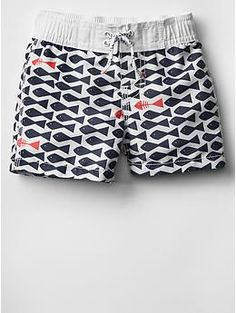 Fish swim trunks for sitting pool side this summer.