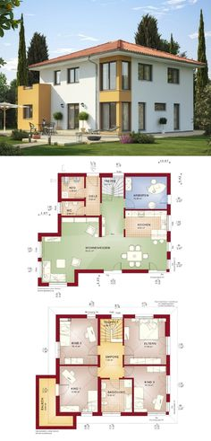 Stadtvilla im Landhaus-Stil modern mit Walmdach - Grundriss Haus Evolution 165 V2 Bien Zenker Fertighaus - HausbauDirekt.de