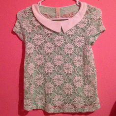 Mint top Never worn mint Peter Pan top. It is sheer so will need to wear tank top under it Tops
