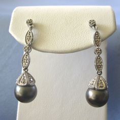 Dangling 14k Diamond Black TAHITIAN  Pearl Earrings