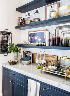 Blue and White Kitchen Cabinets, Beautiful Display