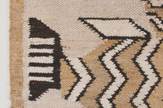 Vintage Mid Century Handwoven Tapestry - MCM, White, Black, Brown, Bird, Wall Hanging, Wall Art