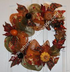 Fall Thanksgiving Deco Mesh & Grapevine Wreath.