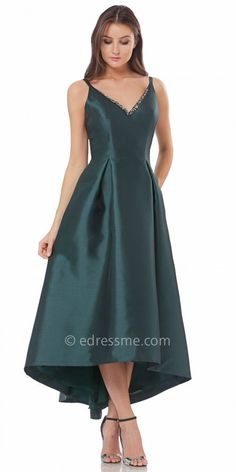 Beaded V Neck Evening Gown by Carmen Marc Valvo Infusion