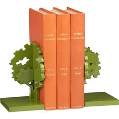 Green tree bookends
