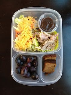 The Family Lunch Box : Pulled pork with shredded cheese topped salad, some black grapes and Paleo pumpkin bread.